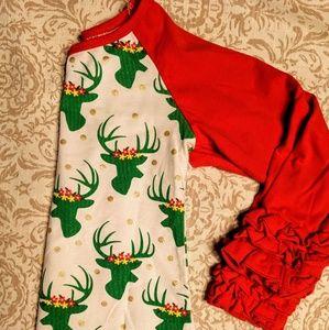 Other - Christmas top 4 5 girls ruffle shirt red reindeer